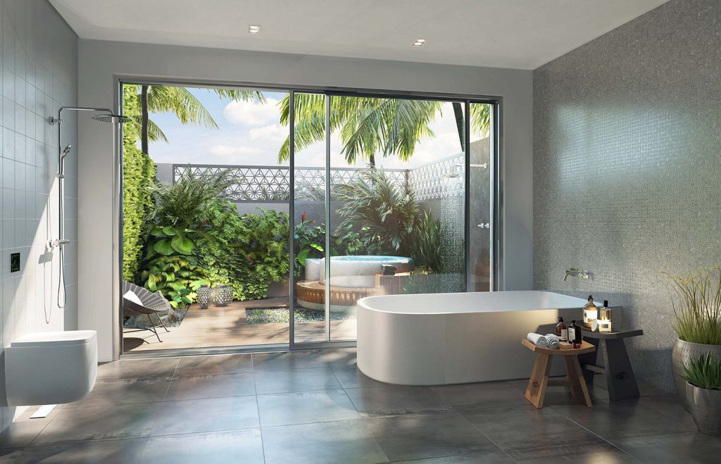 Private tropical garden bathrooms